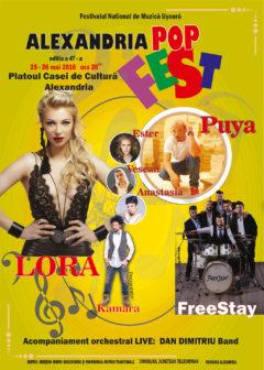 """Festivalul concurs – naţional de muzică uşoară românească  ,,Alexandria Pop Fest"""" editia a 47-a"""