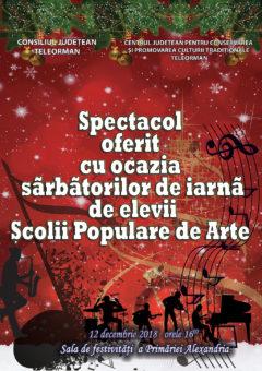 Spectacol folcloric cu prilejul sărbătorilor de iarnă susținut de elevii Scolii Populare de Arte