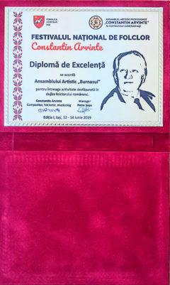 """Diploma de excelenta primita de Ansamblul Burnasul din Teleorman la Festivalului Național de Folclor """"Constantin Arvinte"""""""